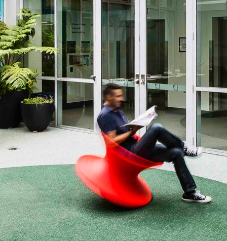 The wonderful Heatherwick Spun Chairs we worked into our design for the Uspace courtyard at St Vincents Hospital, Sydney. Uspace is a mental health clinic for young adults. The chairs are alot of fun, naturally encouraging a sense of joy, movements, openness and trust in both patients and staff!
