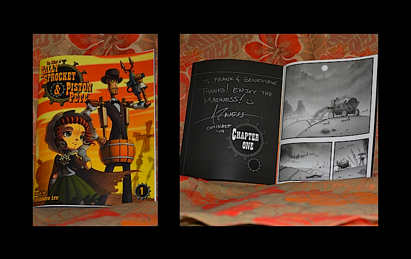 Our signed copy of  Sally Sprocket & Piston Pete, byAlejandro Lee. © West of The Rockies