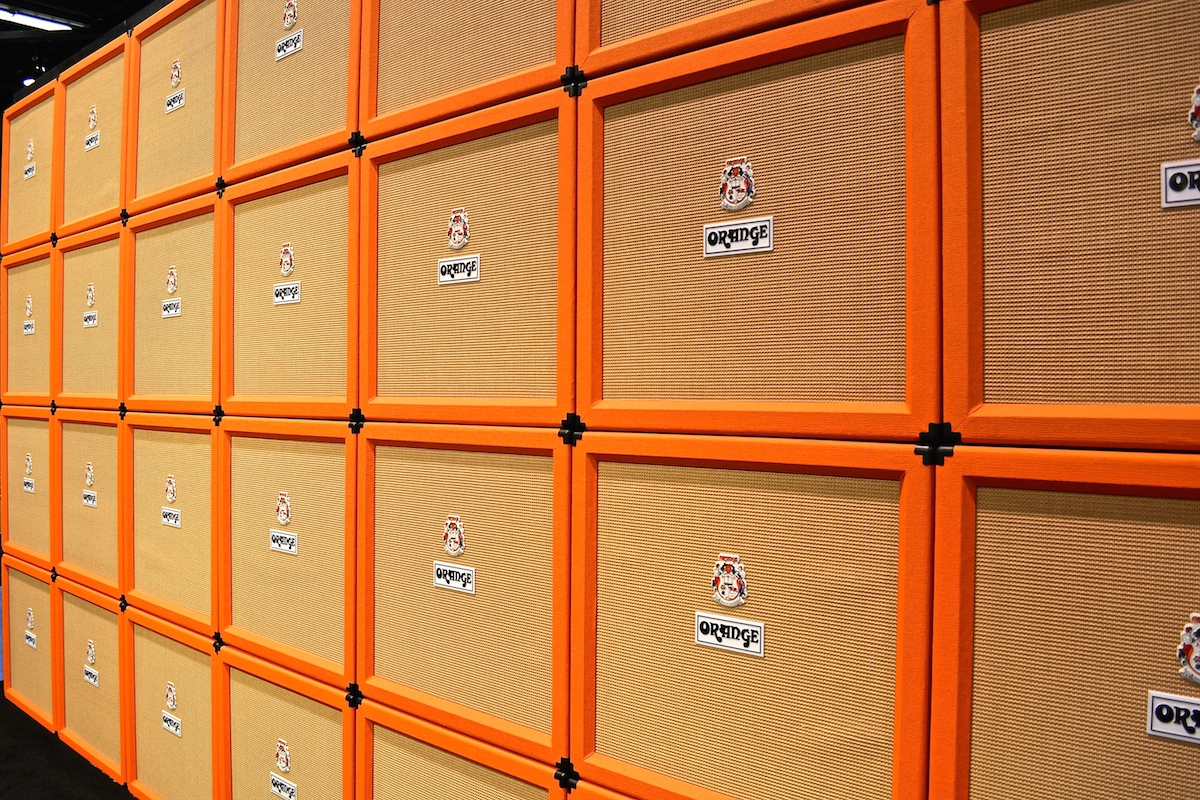 Orange Wall of Amps. I'd hate to be there when they switch them on... NAMM 2015. ©WoTR Radio