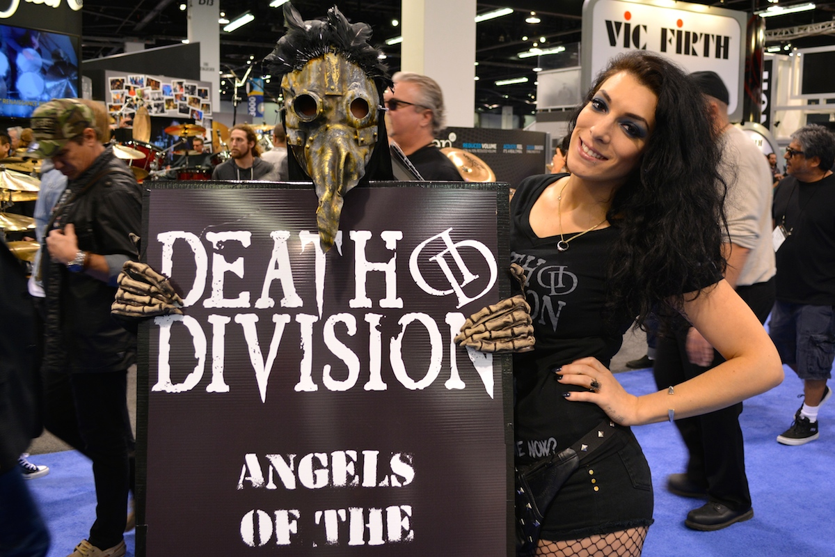 "Some heavy promoting going on for band, ""Death Division."" NAMM 2015. ©WoTR Radio"
