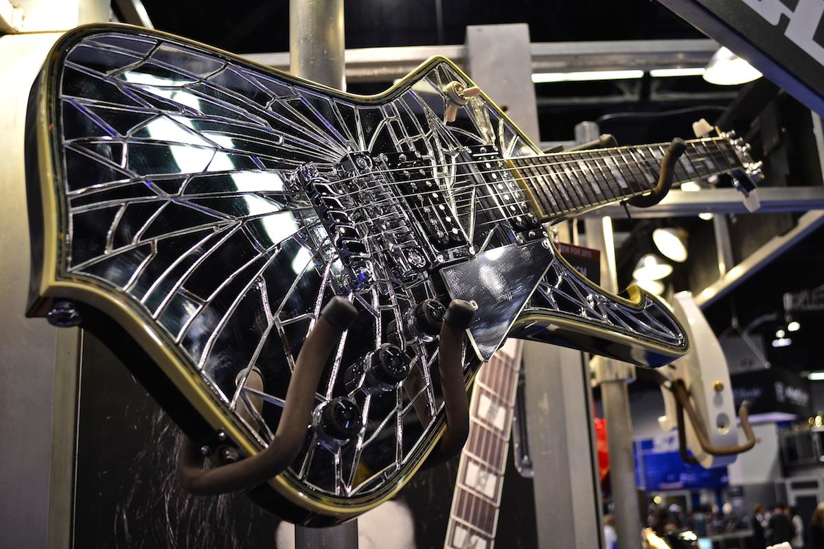 Broken guitar, anyone? Paul Stanley Custom Ibanez Guitar,  NAMM 2015. ©WoTR Radio