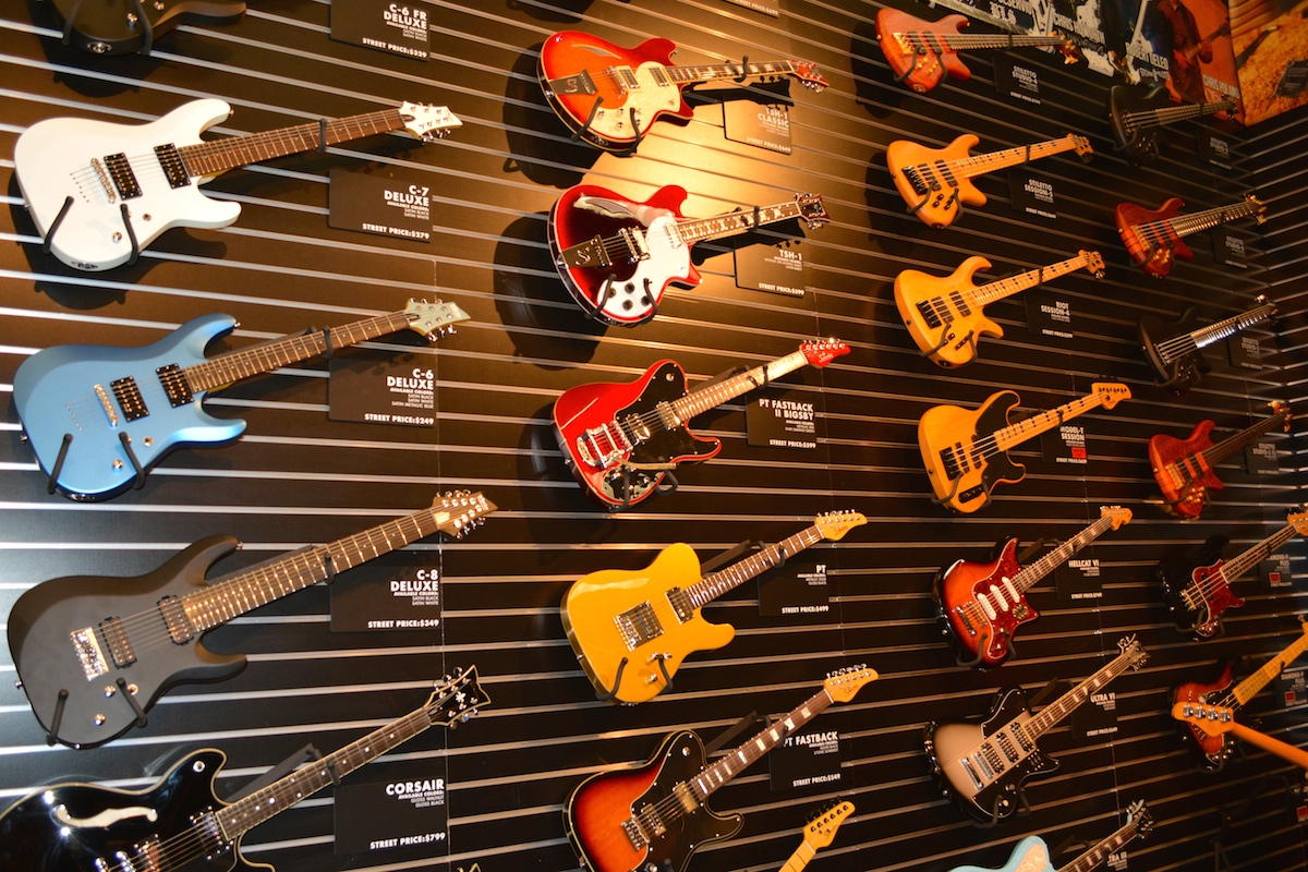 I love me some Schecter guitars. NAMM 2015. ©WoTR Radio