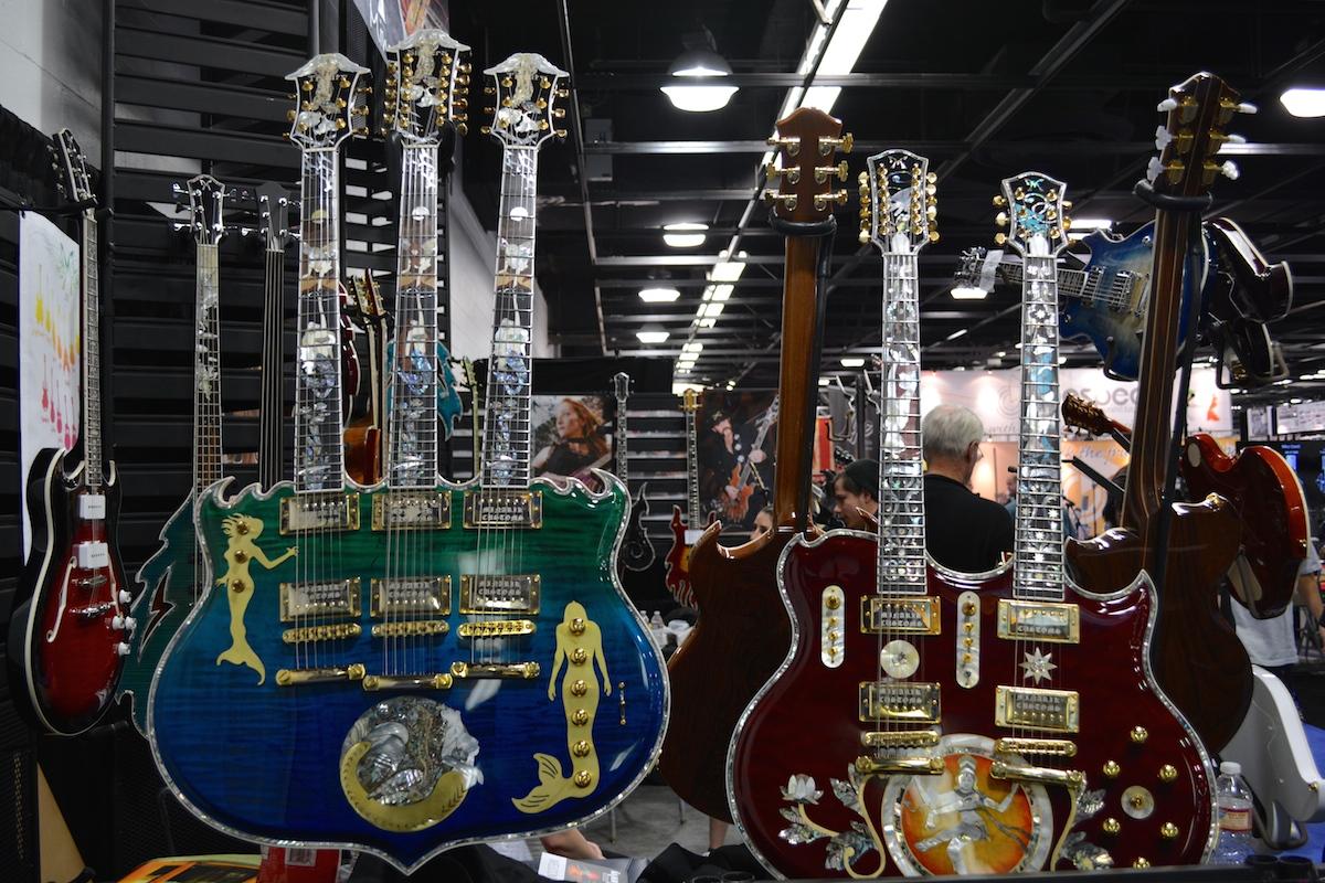 Because she said three is always better than one. Minarik Guitars, NAMM 2015. ©WoTR Radio
