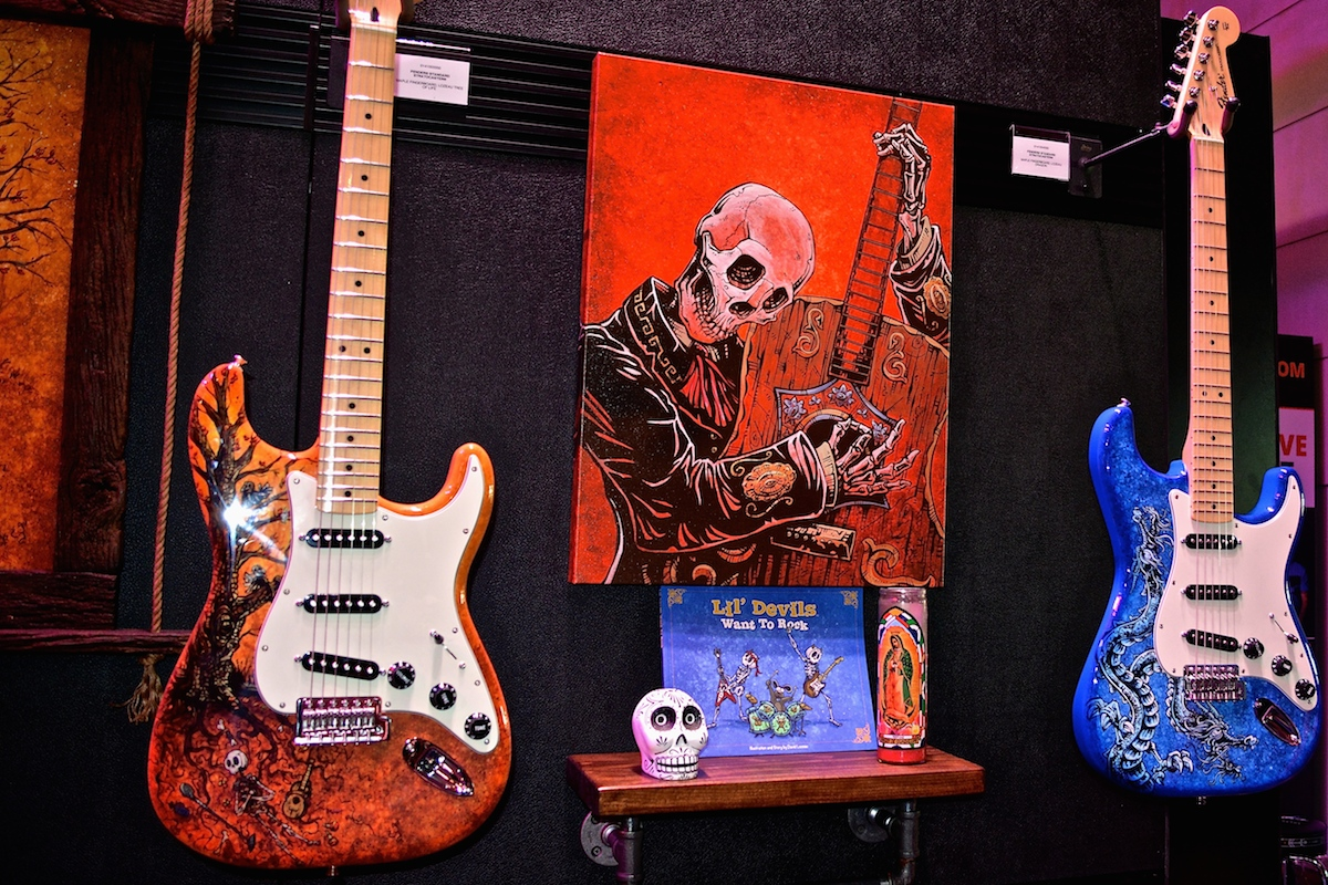 """""""Lil' Devils Want To Rock"""" Fender guitars, hand-painted. NAMM 2015. ©WoTR Radio"""