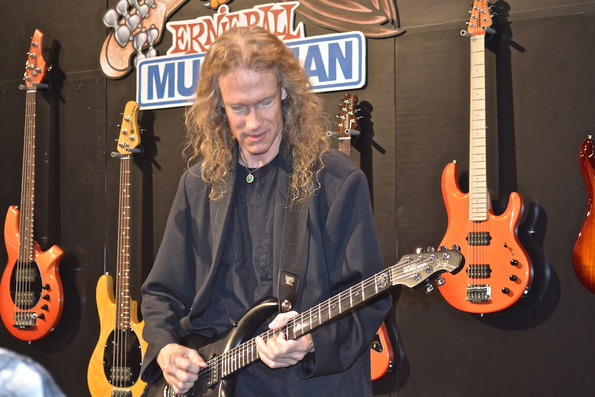 Travis Larson jammin' at the Ernie Ball booth, NAMM 2015. ©WoTR Radio