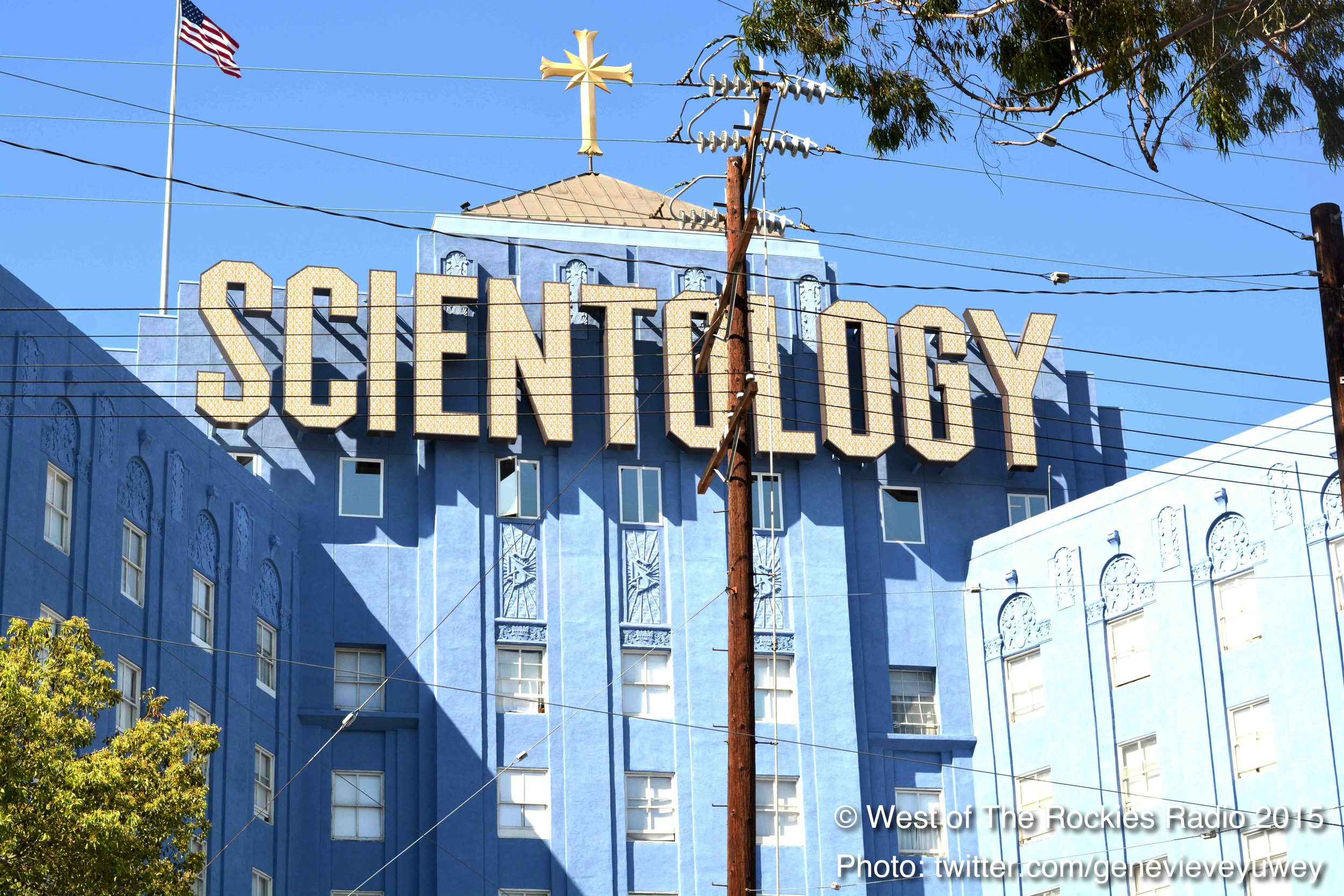 "The ""Big Blue"" Scientology building in Hollywood."