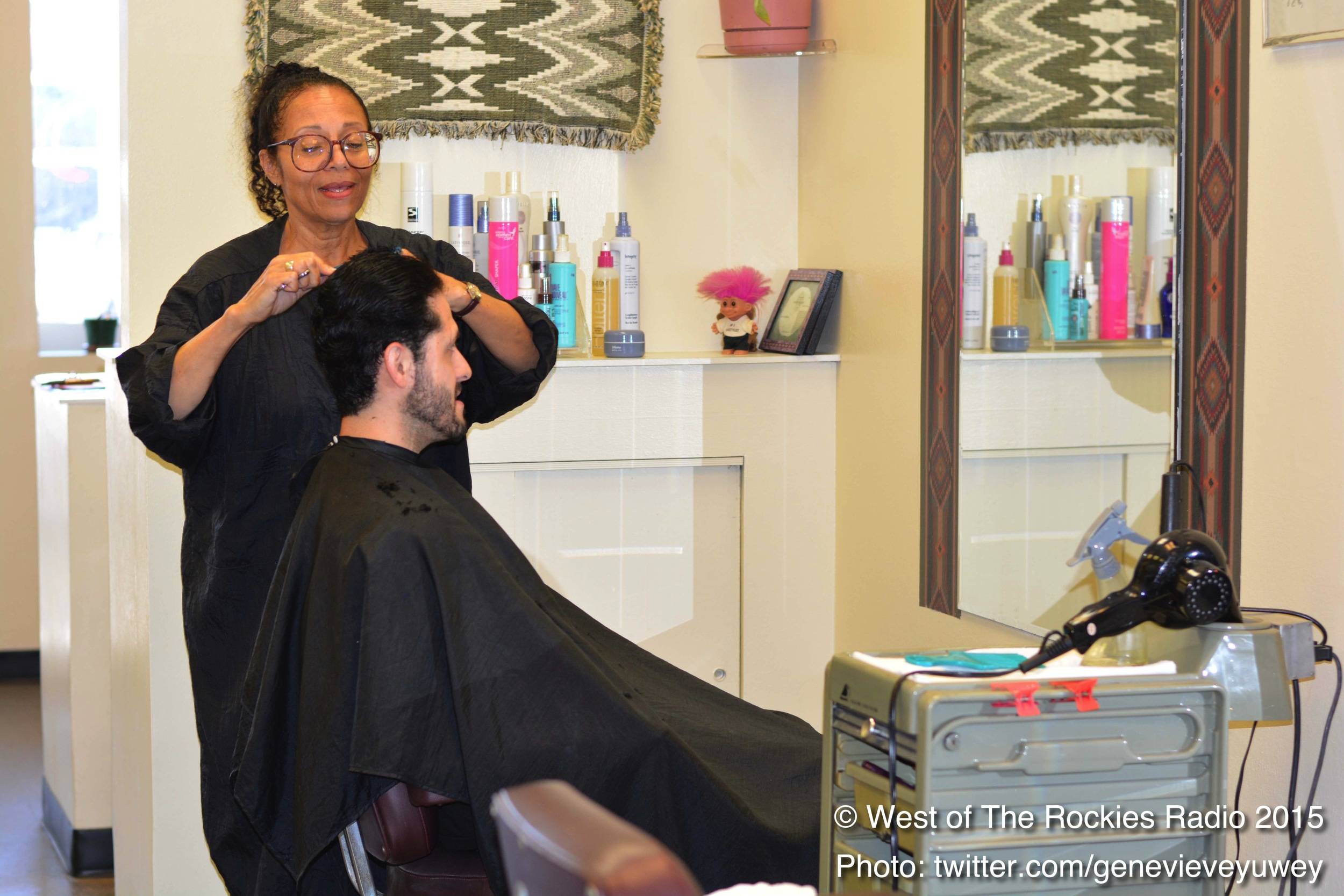 Frank getting a haircut from Lynn at Shear Perfection.