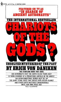 Original title and cover of  Chariots of the Gods , first published in 1968.