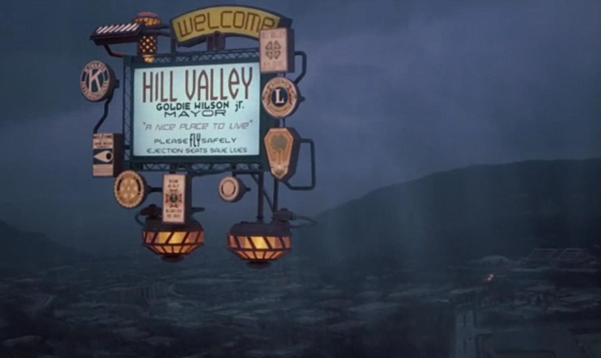 """The floating """"Hill Valley"""" sign. Movie still taken from  Back To The Future II ."""