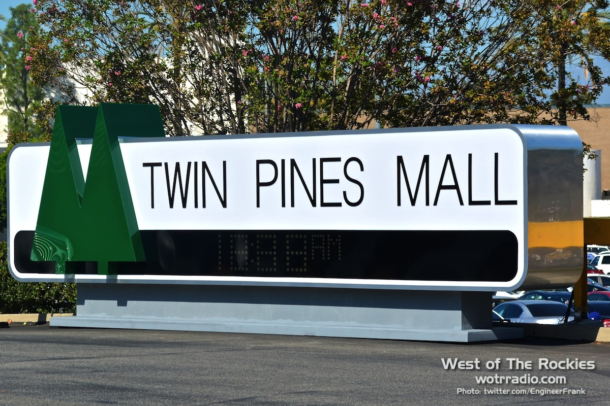 The  Twin Pines   Mall  sign, re-installed for the upcoming  Back To The Future Day . Photo taken October 20th 2015.