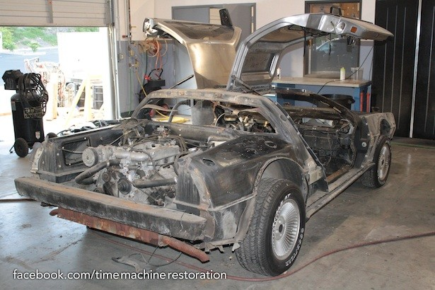 The DeLorean, looking a little worse for wear...