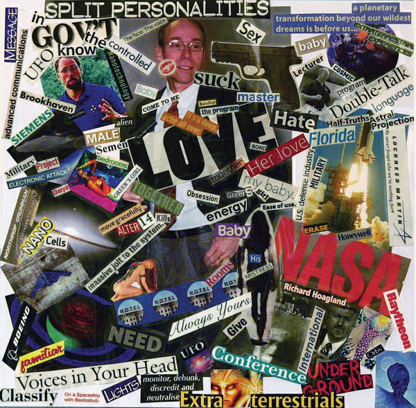 One of several intense and disturbing collages featured in Elisa E.'s books, as well as on her website,  Our Life Beyond MKULTRA .  Used with permission.