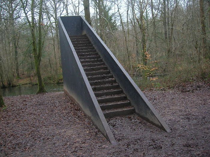 "A rather fitting image. ""Stairs To Nowhere"" in the Forest of Dean, UK. Built by Bruce Allen as part of a commission for the  Sculpture Trail  in 1988."