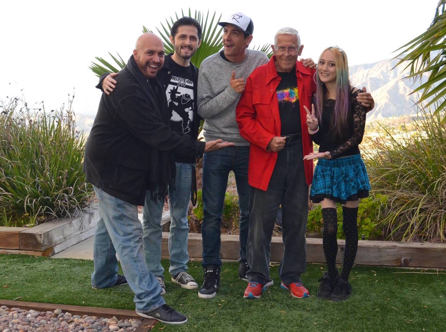 Group photo, taken in Bob's garden (From Left: Ernie Alonzo, Frank Argueta,Justin Scarred, Bob Gurr, Genevieve Federhen).