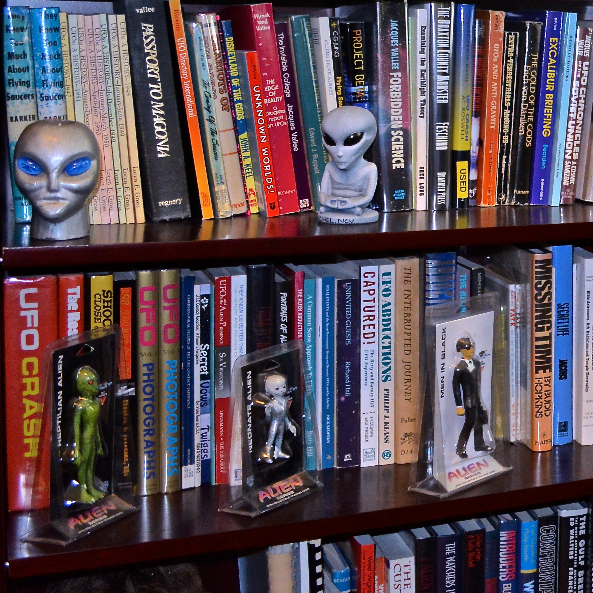 A selection of paranormal-themed books and decorations line the shelves of Dr. Bader's office at Chapman University.