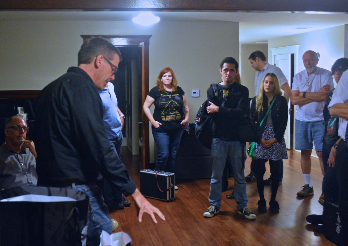 Dr. Bader speaking to members of the Haunted OC team prior to investigation at Chapman University,October 2015.