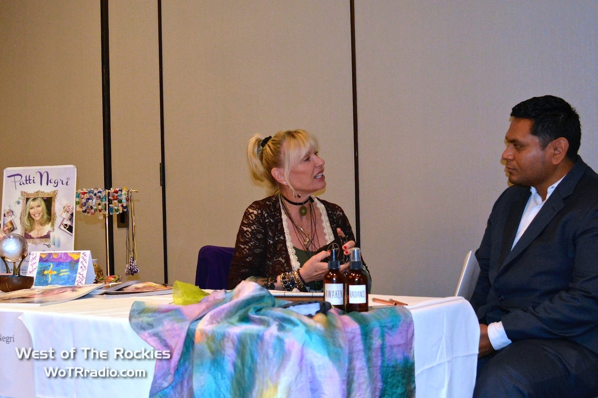 World-renowned psychic,  Patti Negri , about to begin a psychic healing session at her booth during the 4th Annual Heaven and Earth Oasis Fundraiser.