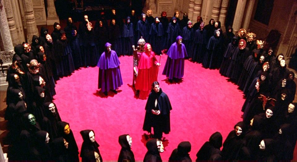 "The masked ball scene from  Eyes Wide Shut  (1999) Related:  Examining The Esoteric Themes Of Kubrick's ""Eyes Wide Shut"" with Jay Dyer ."
