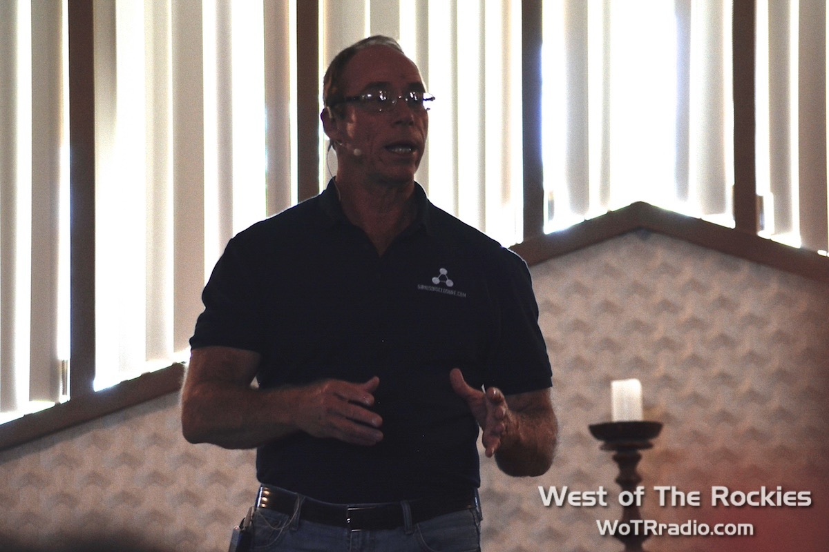 "Dr. Steven Greer during his workshop, ""The Choice: Endless War or 500,000 Years of Universal Peace."""