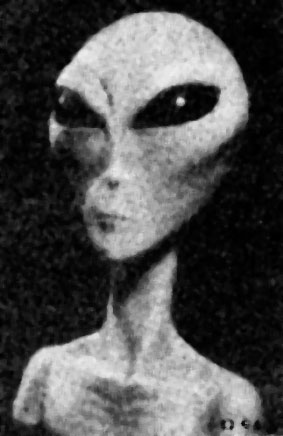 "Artistic depiction of an ""Grey Alien"" entity."