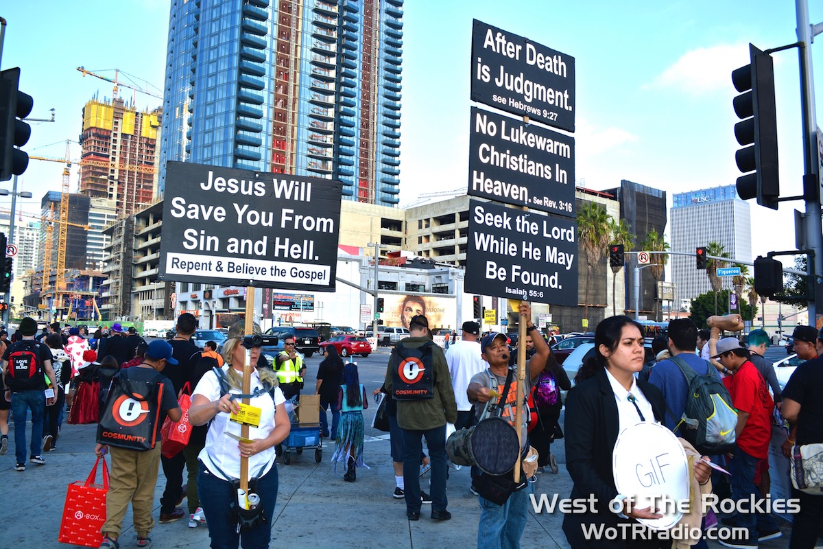 Preacher wars!!! Two opposing churches were present on Saturday, each claiming the other was false. ¯\_(ツ)_/¯