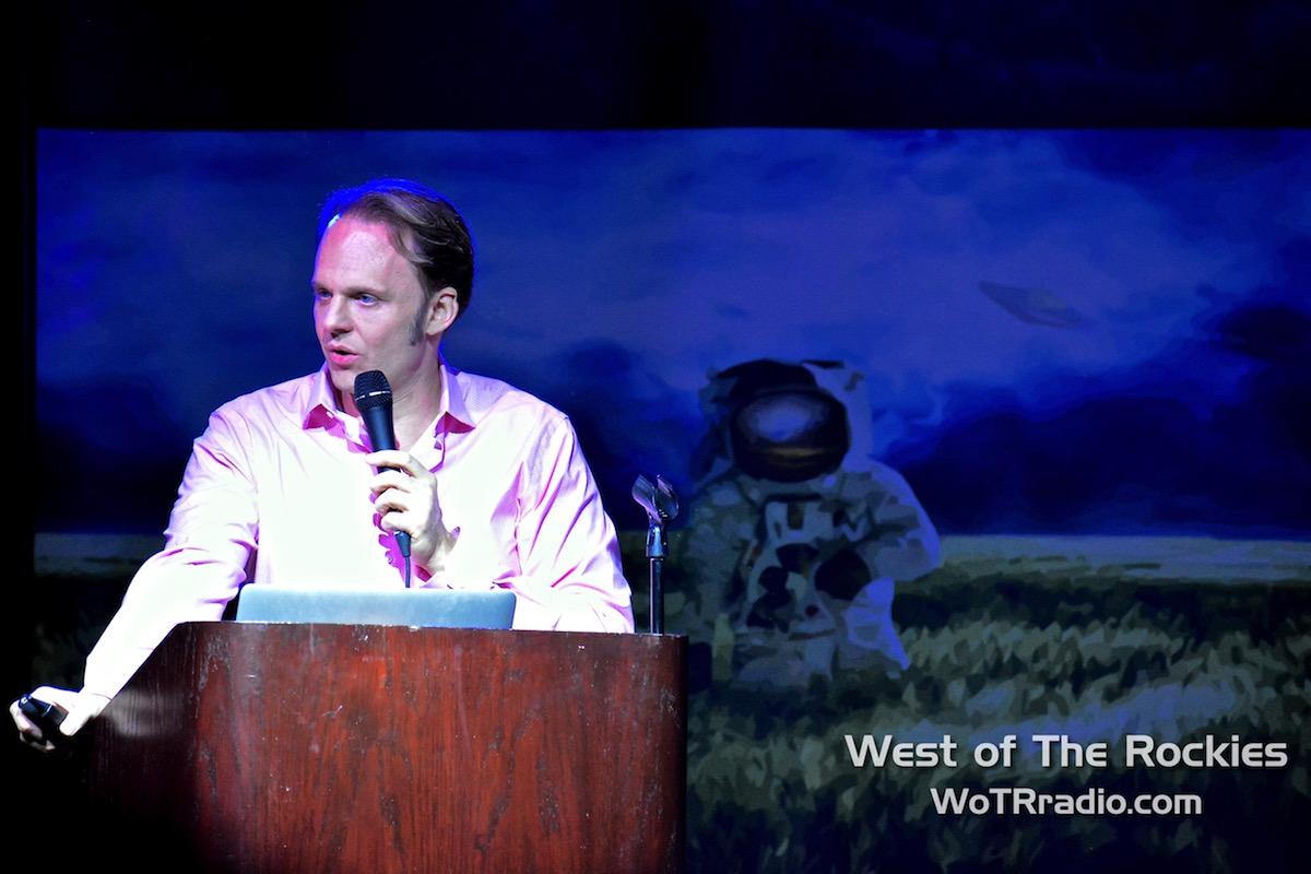 "David Wilcock during his lecture, ""The Antarctic Atlantis: Cosmic History Of The Illuminati."""