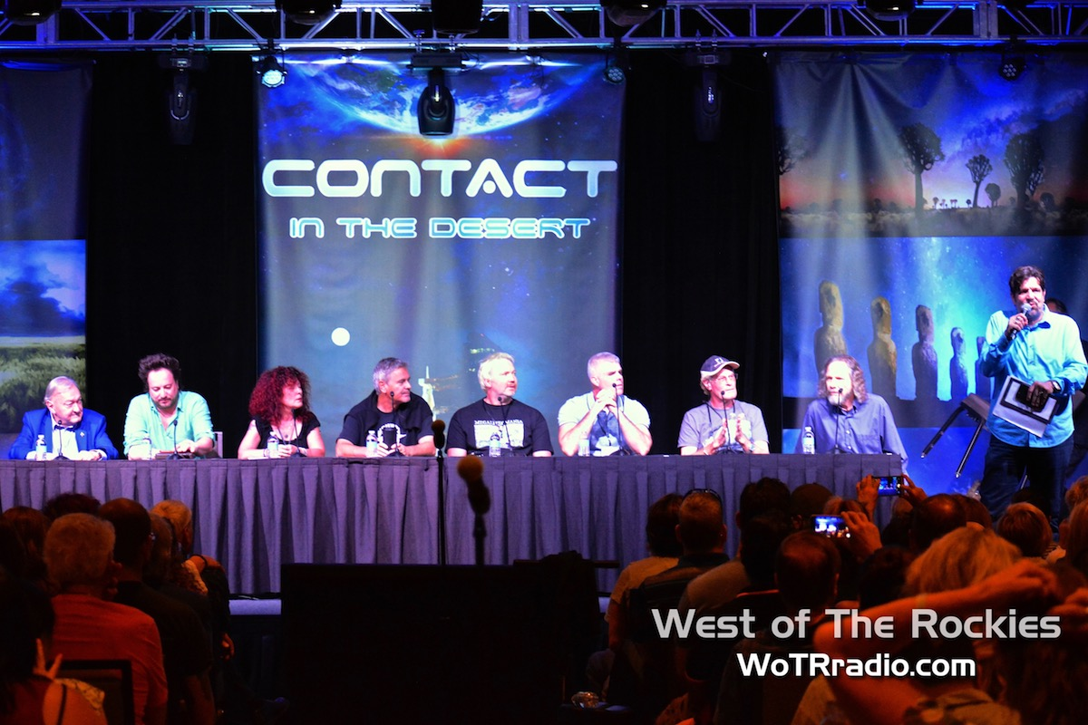 """Host of   Fade to Black     radio,  Jimmy Church  (right), introducing the """"Ancient Aliens: The Best Evidence"""" panelists. (From L to R) Erich Von Daniken, Giorgio A. Tsoukalos, Sonja Grace, Michael Tellinger, Hugh Newman, Jim Vieira, Brien Foerster & Dr. Robert Schoch."""