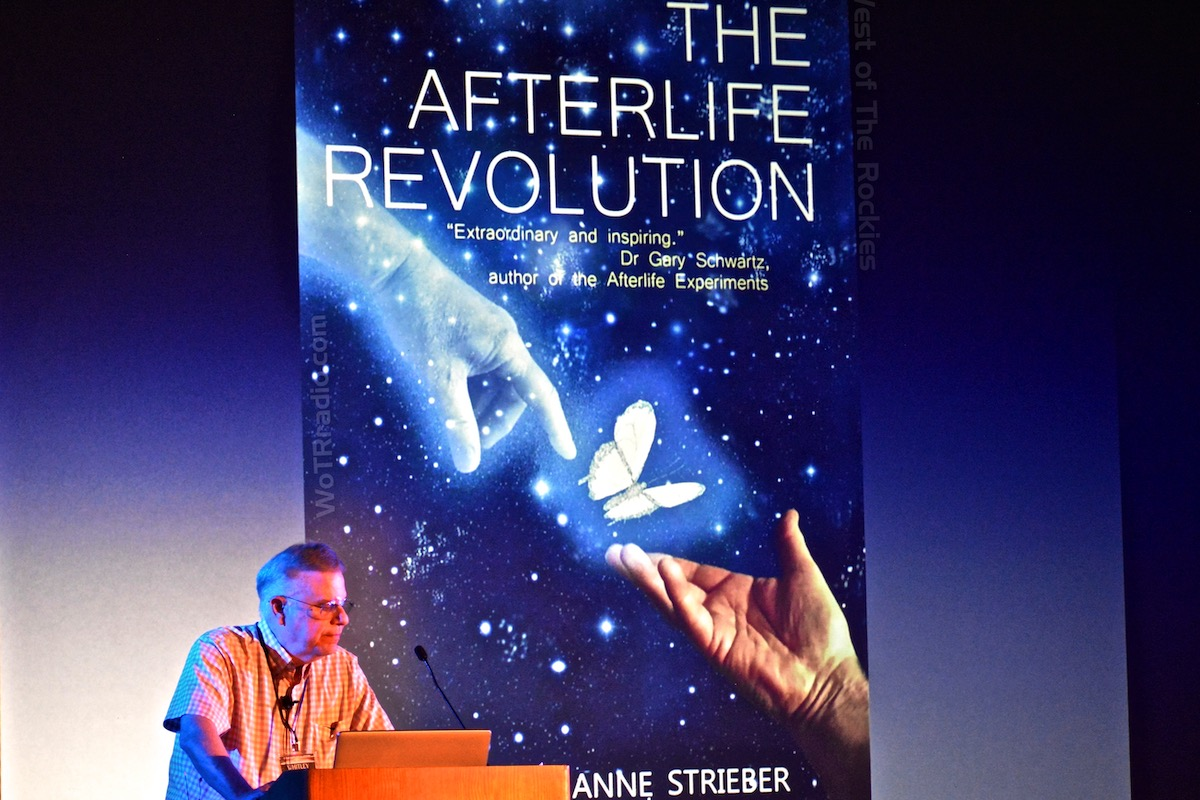 Whitley Strieber during his presentation on his latest book,   The Afterlife Revolution  , at the   Contact In The Desert   Conference, 2018.