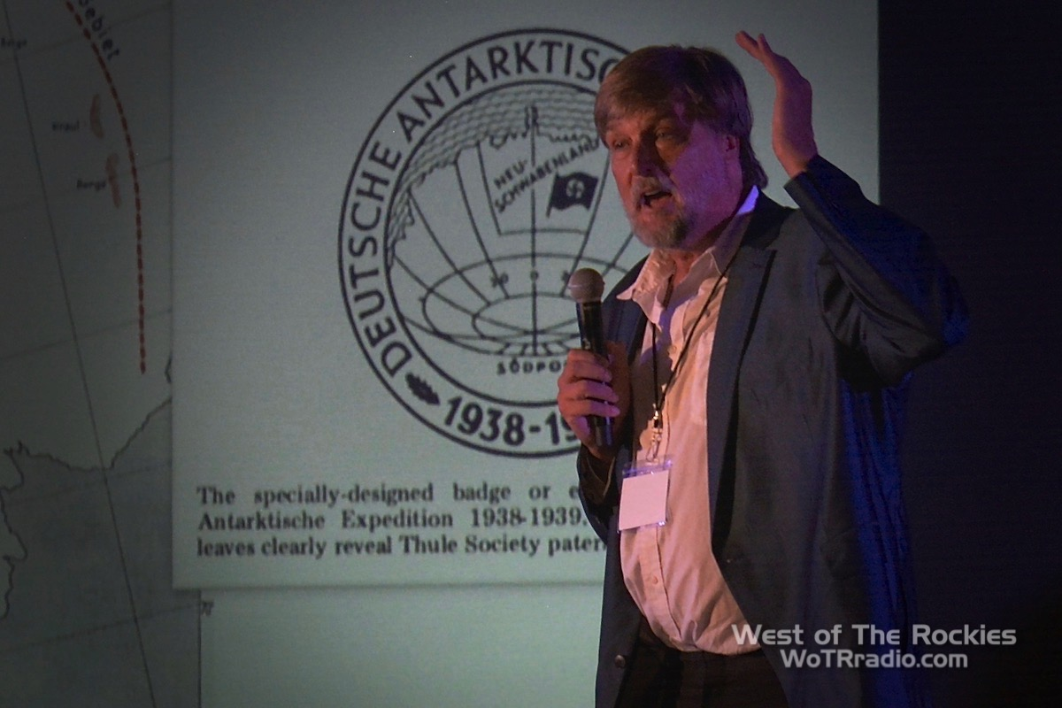 Brad Olsen during his lecture  Hidden Anomalies in Antarctica  at the Contact In The Desert conference 2019.