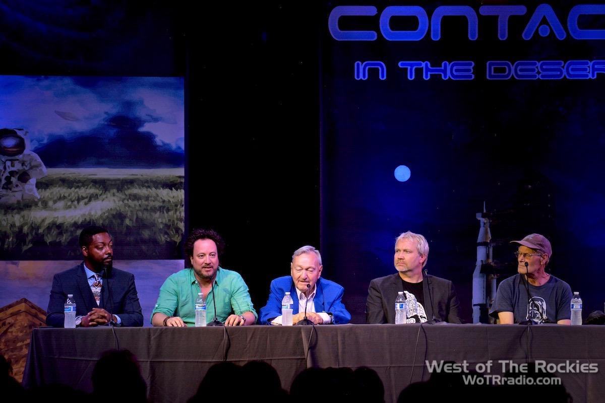 From L to R: Billy Carson, Georgio Tsoukalos, Erich von Däniken, Hugh Newman, Brien Foerster.  Contact In The Desert 2019 .
