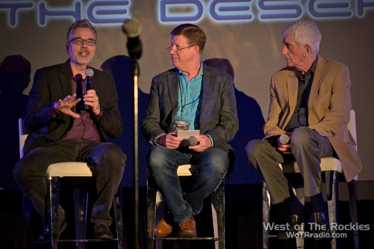 """From L to R: Richard Dolan, Paul Hynek, Jacques Vallee, during the """"Project Blue Book"""" lecture.  Contact In The Desert 2019 ."""