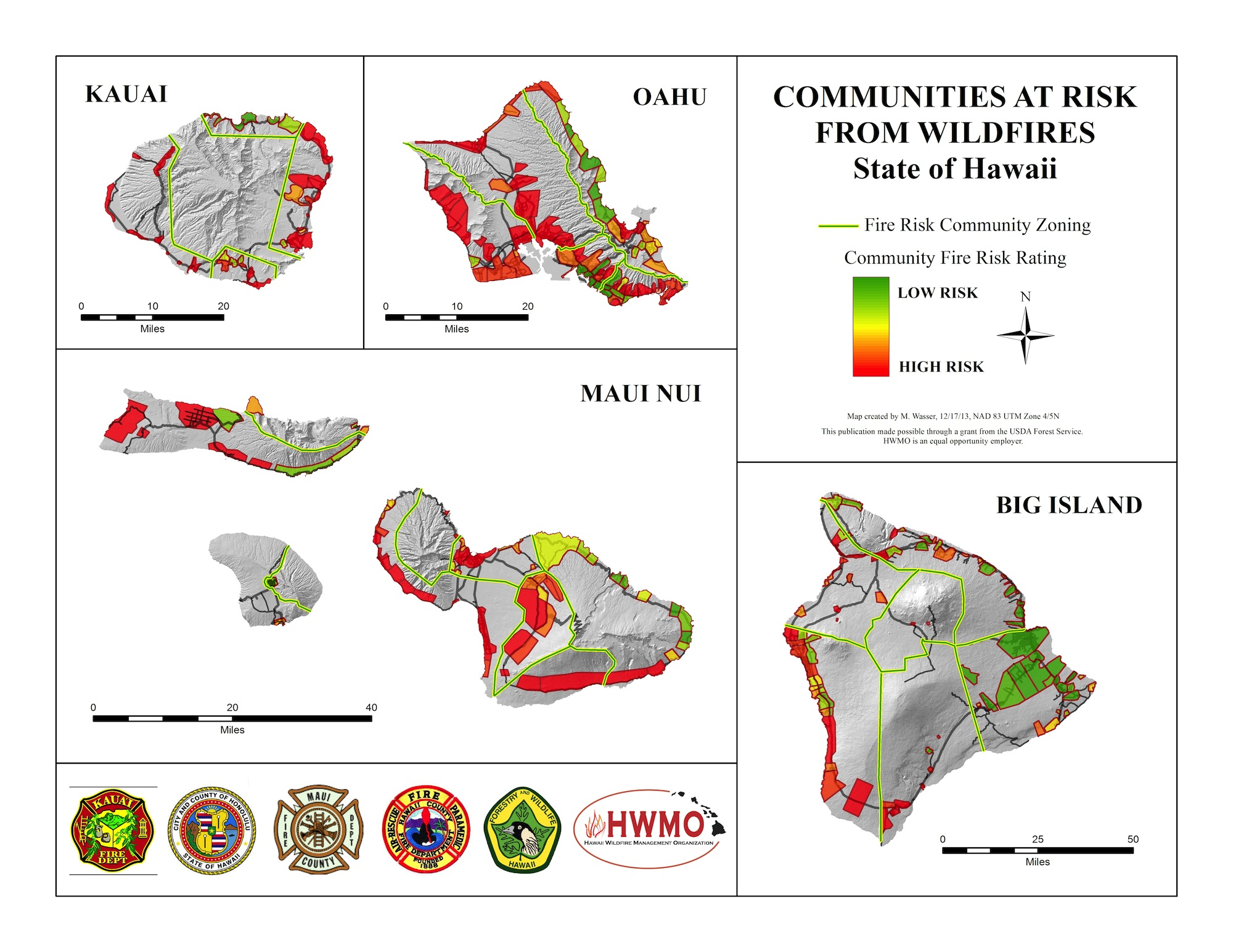 Above: Communities at Risk Assessment map for all the major Hawaiian Islands.