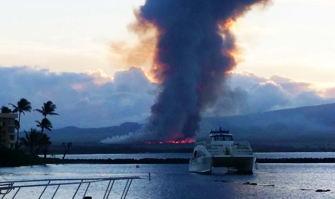 "Above: ""Oct. 27, 2014, 6:15 a.m. from Māʻalaea Harbor toward Kīhei. Courtesy Steve Butler aboard the Mahana Naiʻa."""