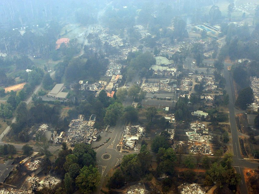 "Above: ""An aerial of Marysville after the fires. Picture: Mark Smith"" - Herald Sun News"