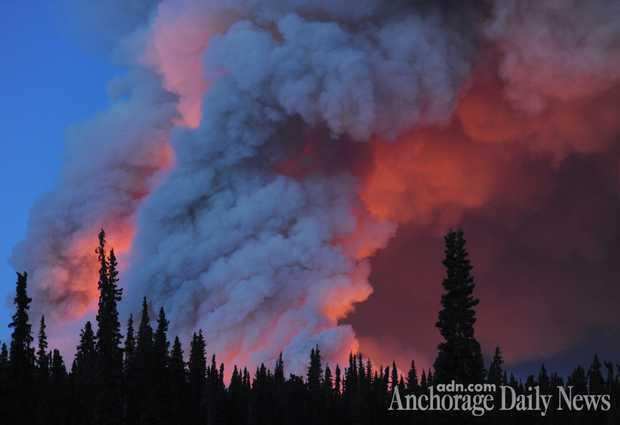 """Above: """"The Funny River wildfire near Soldotna more than doubled in size on Tuesday, May 20, 2014, growing to nearly 7,000 acres in dry, windy conditions and low humidity, fire officials said."""" Credit:Bill Roth/Anchorage Daily News"""