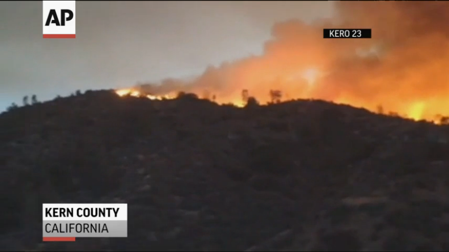 """Above: """"A wildfire is burning mostly out of control in and around the Sequoia National Forest in central California. Area residents are being urged to evacuate."""" Credit for Video Screenshot: Associated Press"""