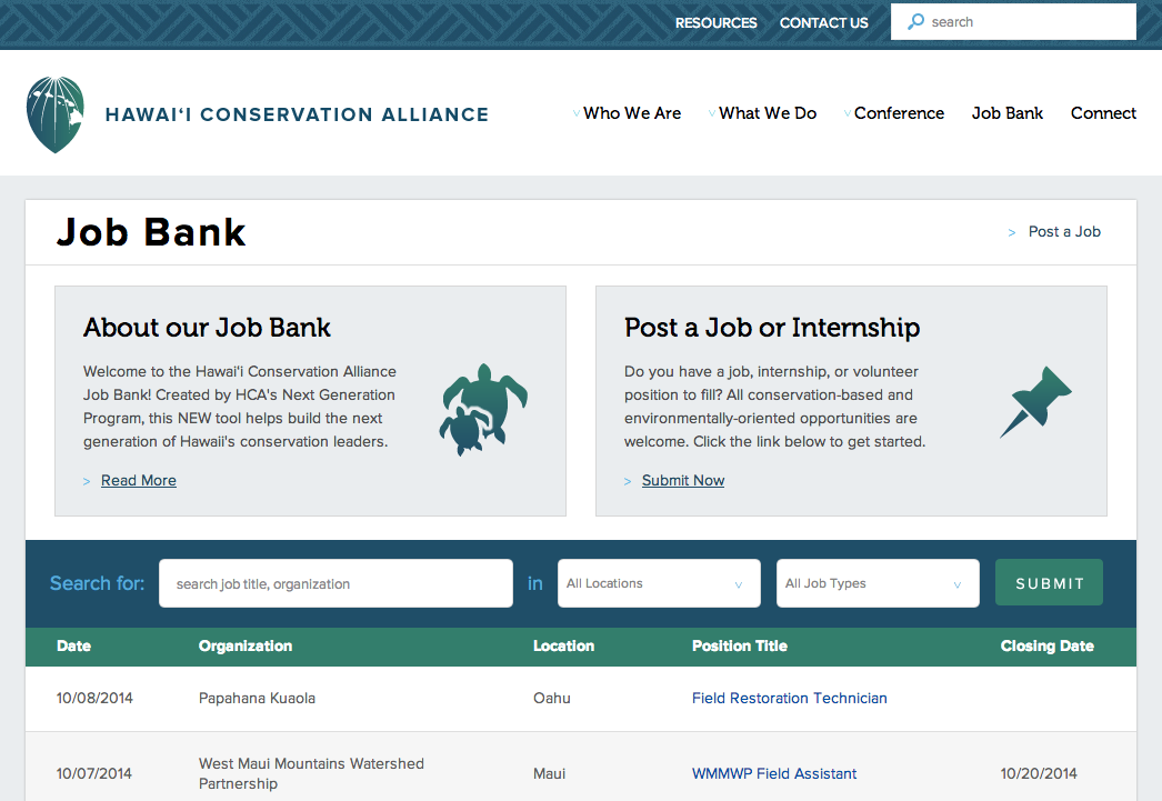 HCA Job Bank Page