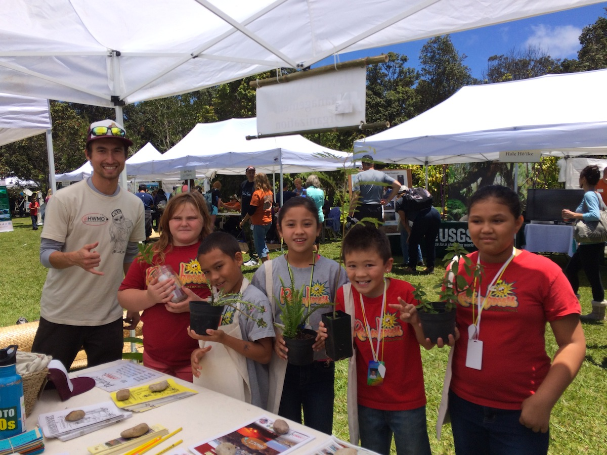 Pablo Beimler lets each student from Pahoa make a friend with a native Firewise plant.