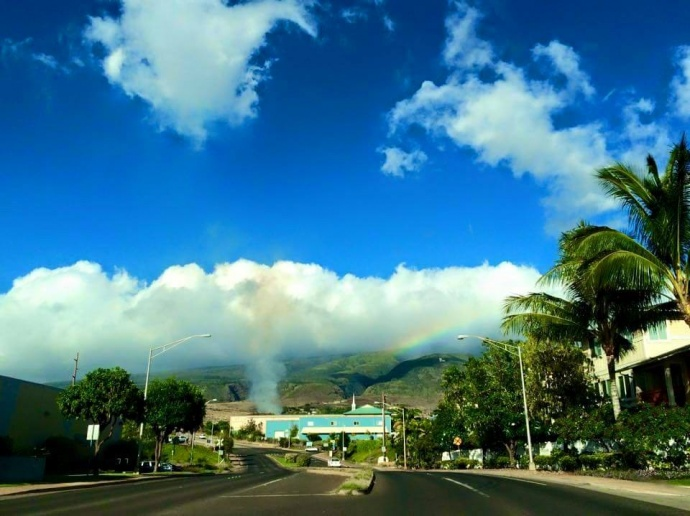 """Fire near Lahainaluna. Photo by Kira Nakamura."""