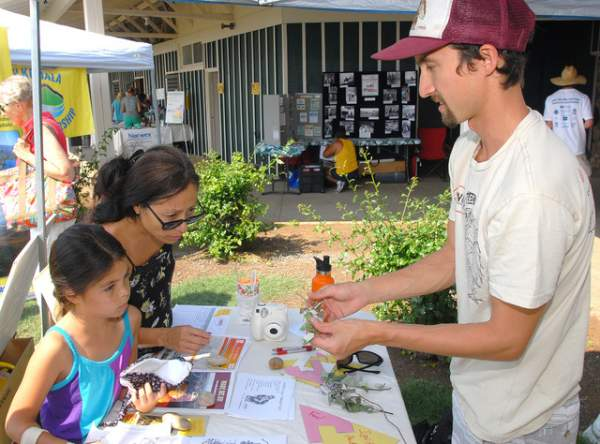 "Our booth was featured in West Hawaii Today's photo gallery of the Wiliwili Festival 2015. ""Pablo Beimler of the Hawaii Wildfire Management Organization, right, offers a pohinahina start to Mia Wright and her daughter Kara at the Wiliwili Festival sponsored by the Waikoloa Dry Forest Initiative Saturday at Waikoloa Stables. Laura Shimabuku/West Hawaii Today"""