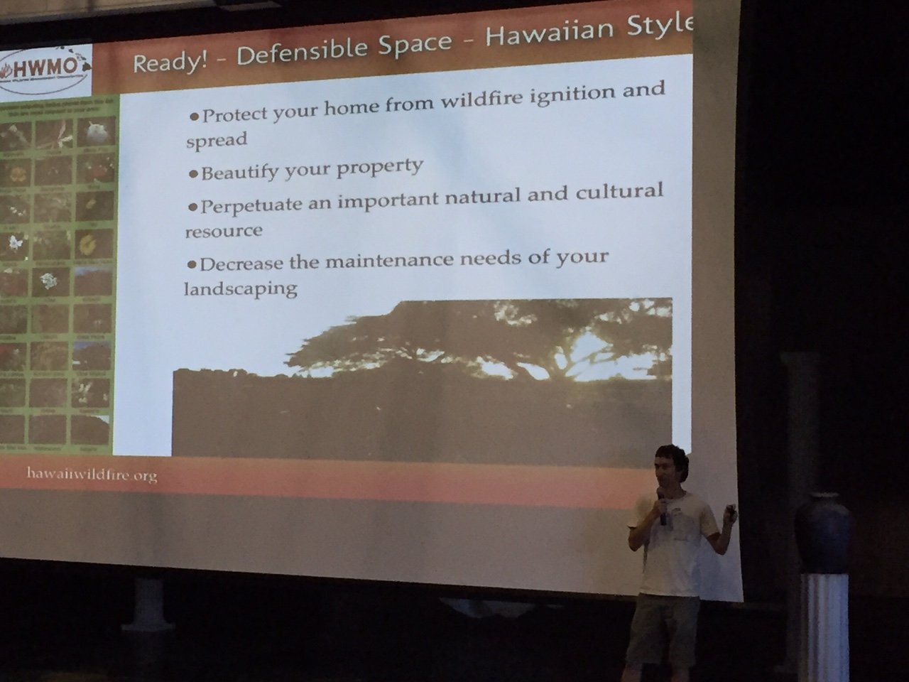 Pablo Beimler gives background on Firewise native plants to Seabury Hall students.
