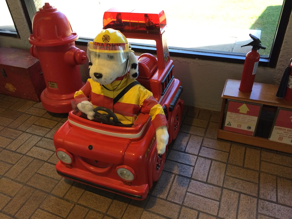 Hot dog, Sparky, rearing up for a busy wildfire period.