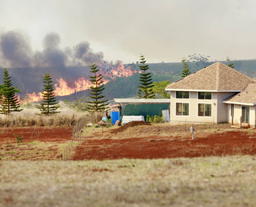 """""""A brush fire closed in on a residential area on Poamoho Street in Haleiwa yesterday. Smoke from the huge blaze was visible from miles away."""" (Cindy Ellen Russell/Star Bulletin)"""