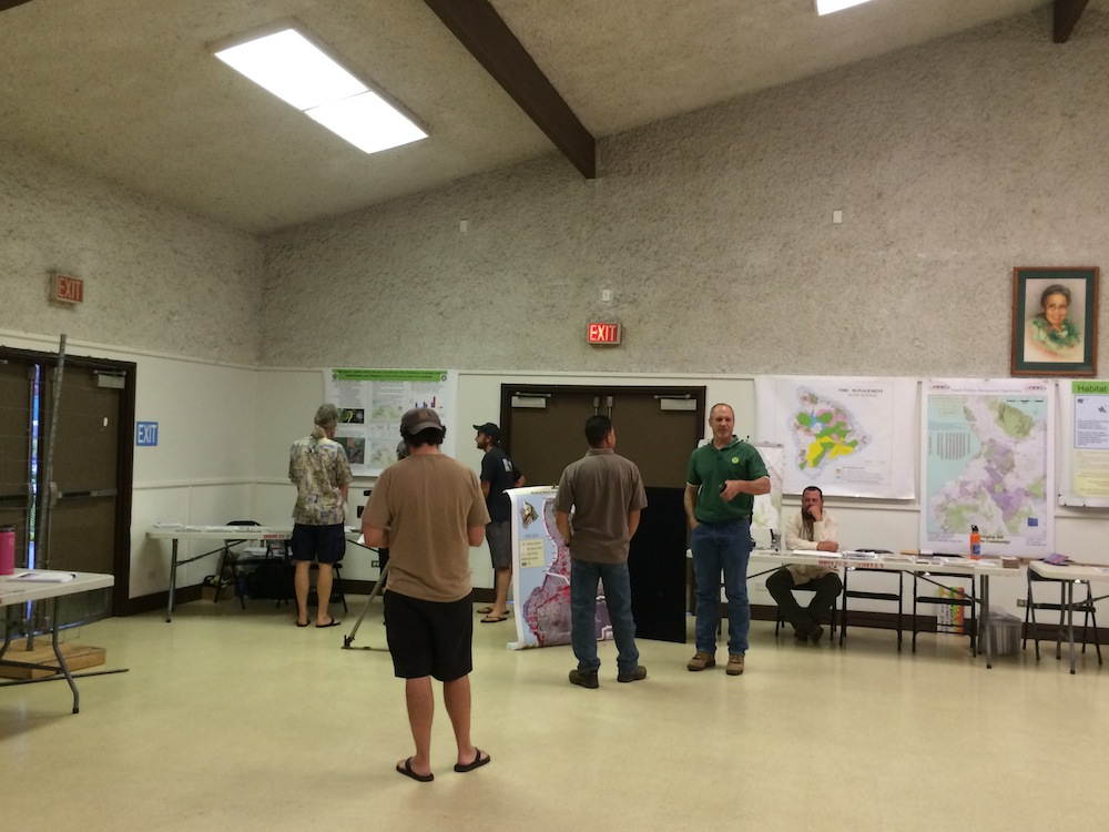 HWMO teamed with DLNR DOFAW to host an informational booth regarding wildfire history and management in Puuwaawaa.