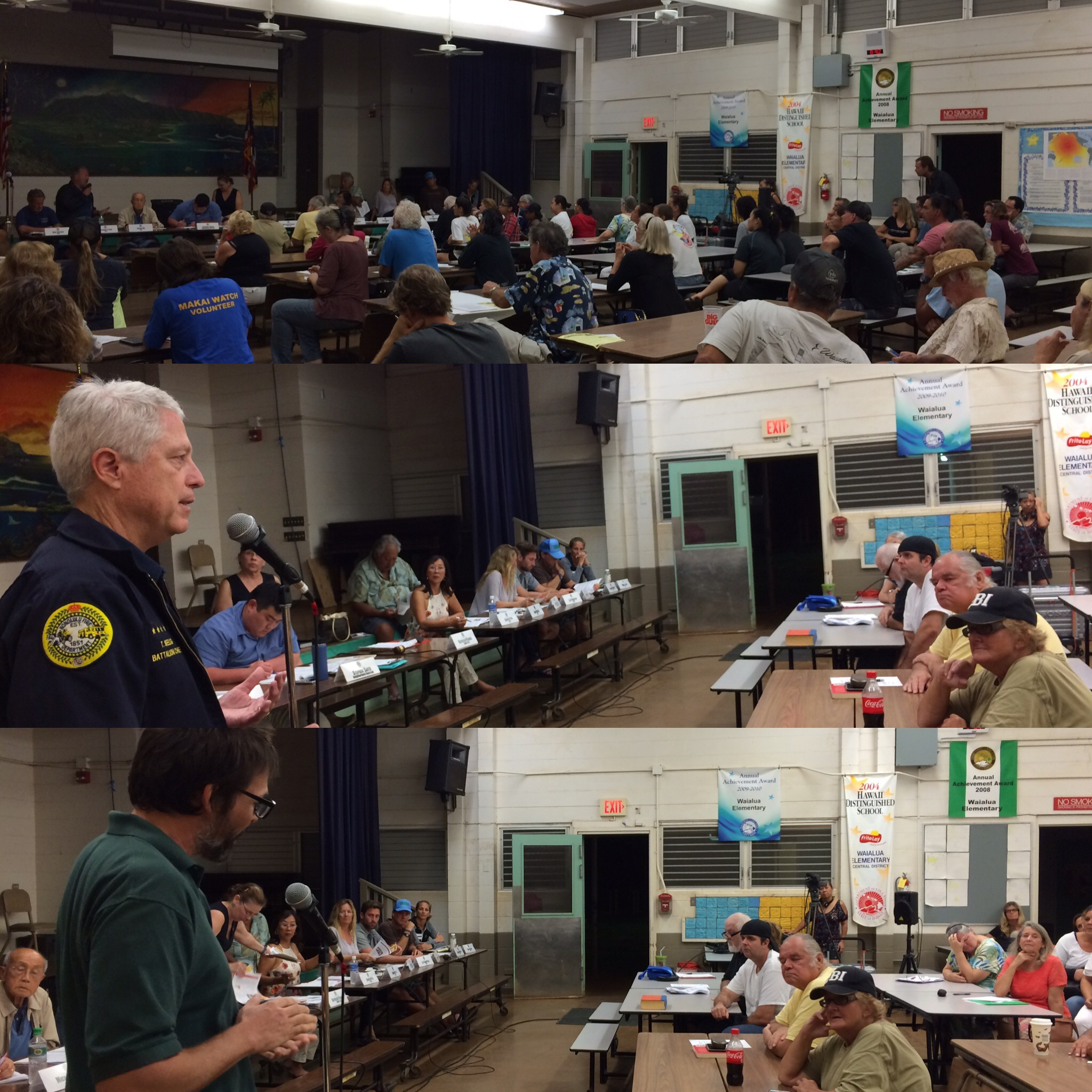 Chief Seelig of Honolulu Fire Department (middle) and Clay Trauernicht of University of Hawaii CTAHR Cooperative Extension (bottom) address a large group of concerned residents about wildfires in the area.