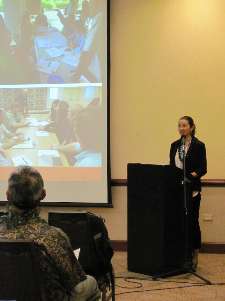 Elizabeth Pickett, HWMO, shares information on Community Wildfire Protection Plan update for Kauai.