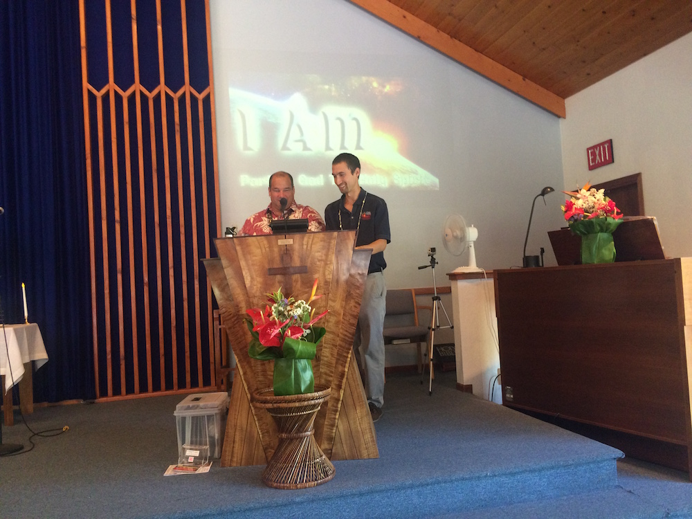 Pablo gives thanks to Pastor Greg for inviting HWMO to speak at Sunday service about Wildfire Prep Month.