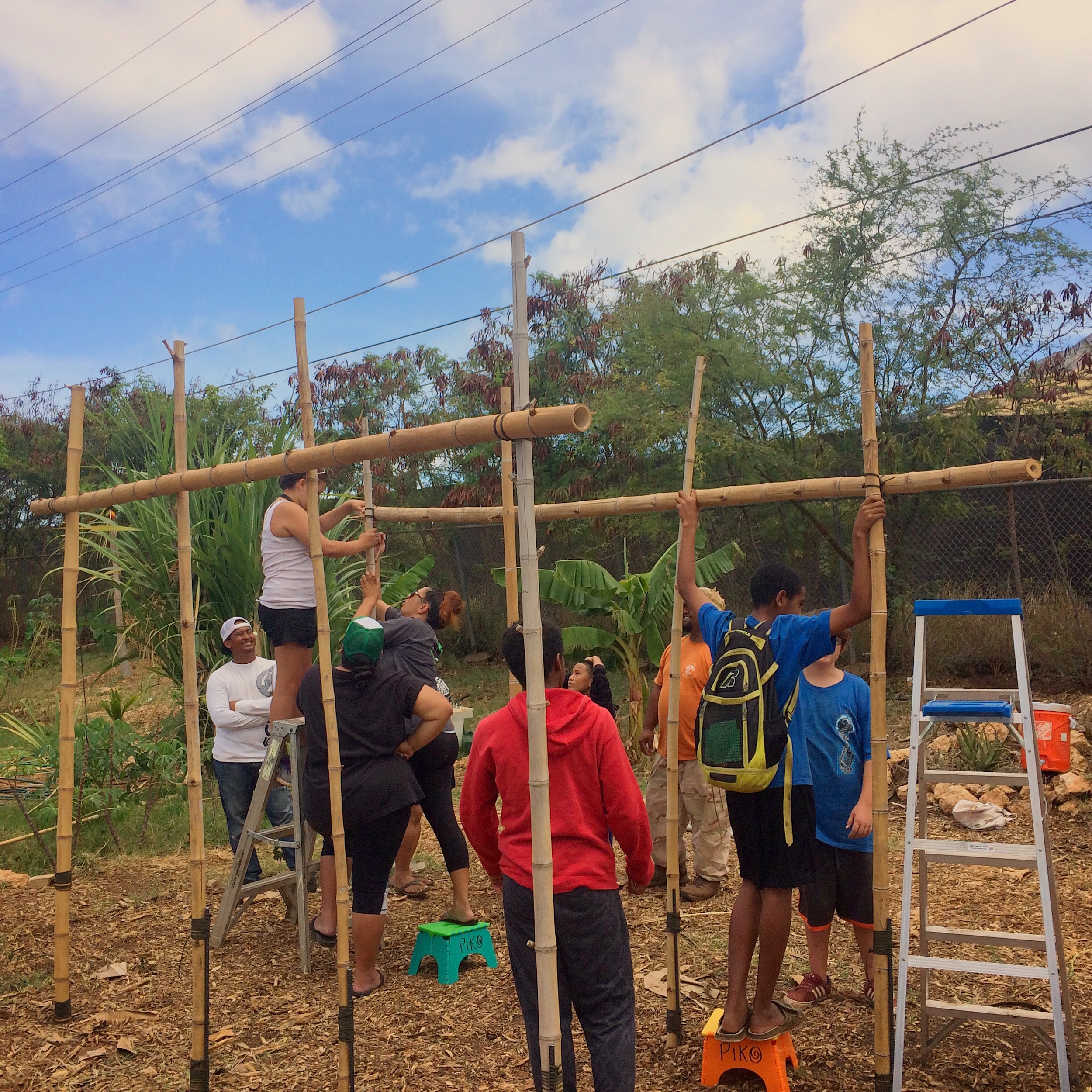 Kamaile students and visiting kumu build a hale in the garden.