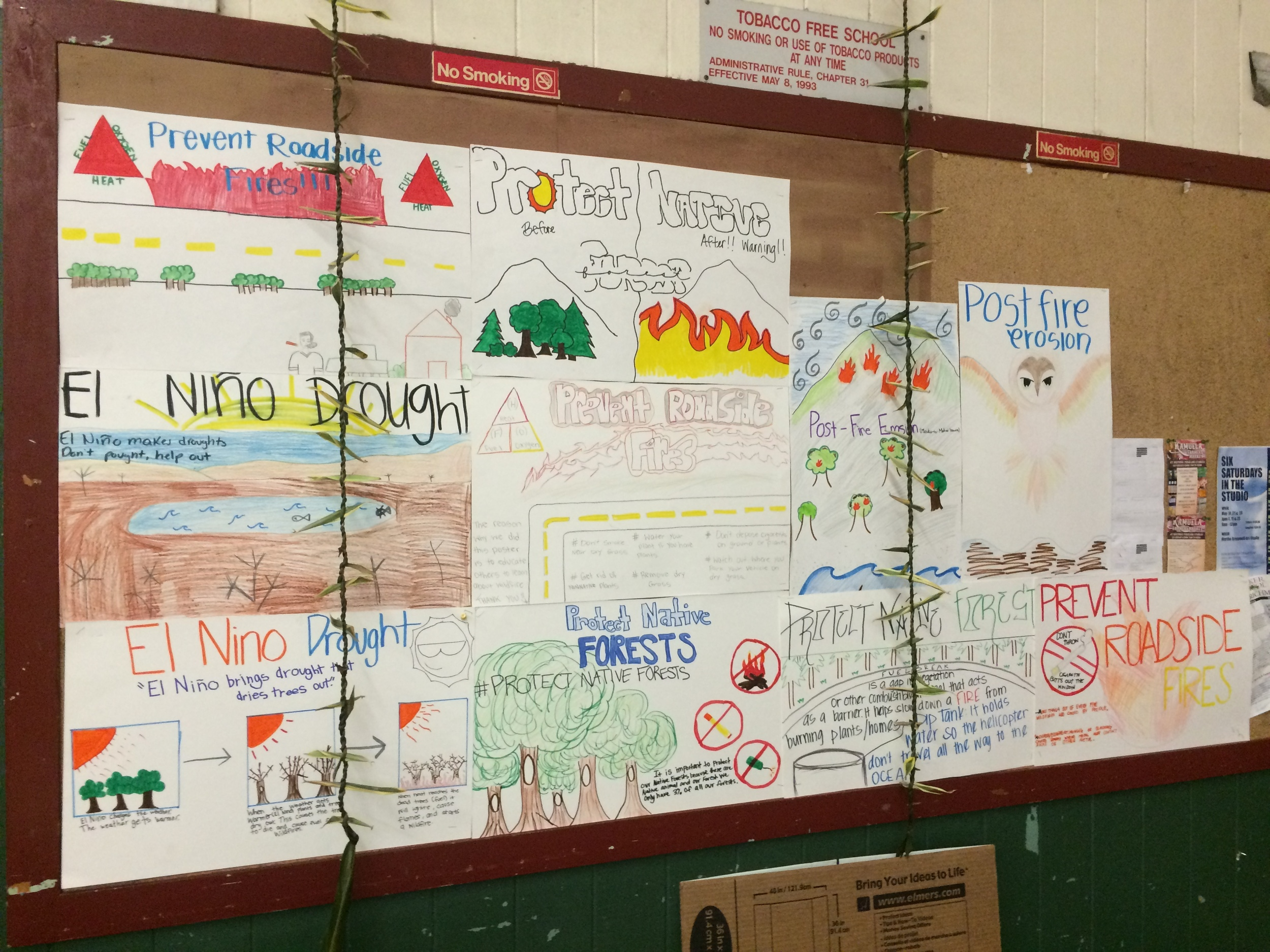 Fire prevention signs made by students at Waimea Middle School.