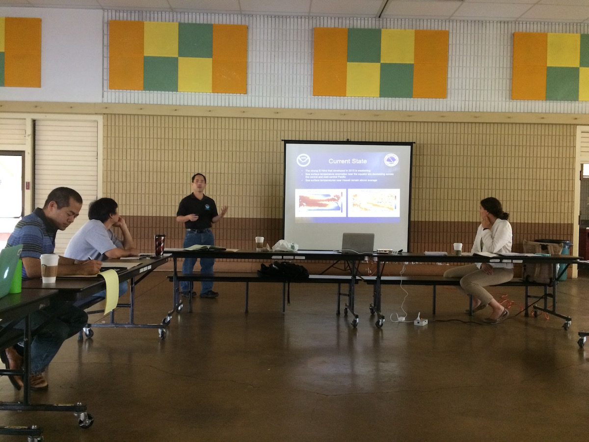 Kevin Kodama, Hawaii Drought Commission, gives an update on recent drought predictions.